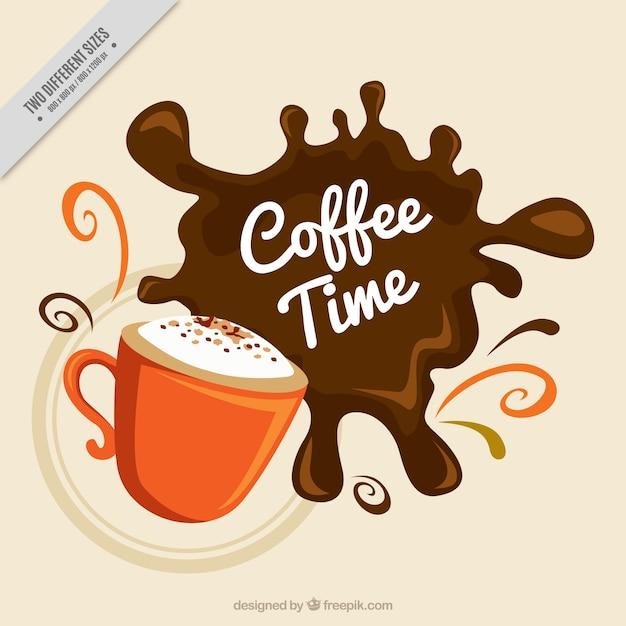 Arrière-plan de tasse avec tache de café Vecteur gratuit