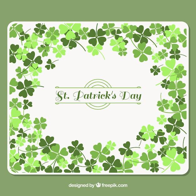 Arrière-plan avec des trèfles dans des tons verts pour le jour de st patrick Vecteur gratuit
