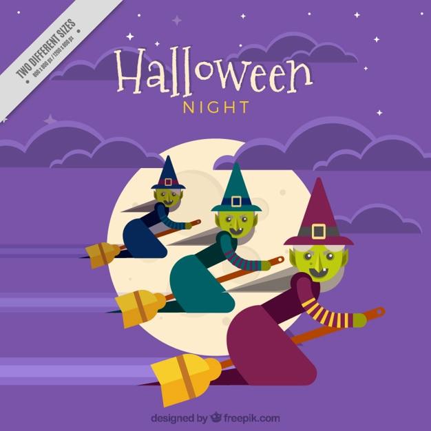 Arrière-plan Avec Trois Sorcières Volant Pour Halloween Vecteur gratuit