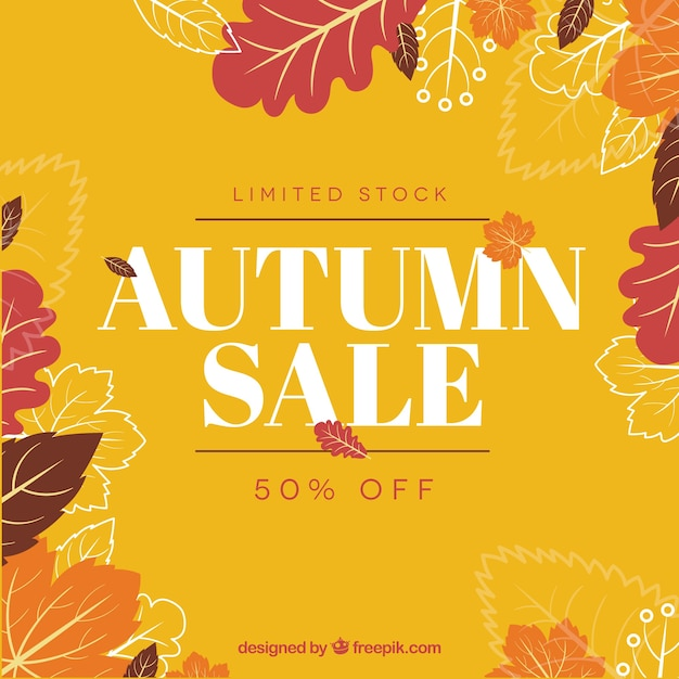 Arrière-plan de vente automne Vecteur gratuit