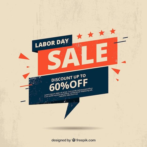 Arrière-plan de vente fête du travail dans le style vintage Vecteur gratuit