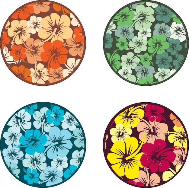 Arrière-plans avec des fleurs d'hibiscus Vecteur gratuit