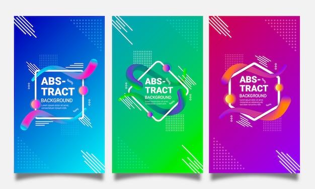 Arrière-plans futuristes sertie de dégradés et de formes géométriques abstraites Vecteur Premium