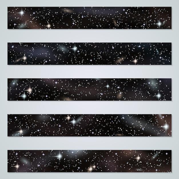 Arrière-plans panoramiques de nuit avec ensemble d'étoiles, de nébuleuses et de galaxies Vecteur Premium