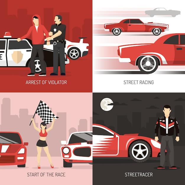 Arrière-plans de street racing concept avec des personnages Vecteur gratuit