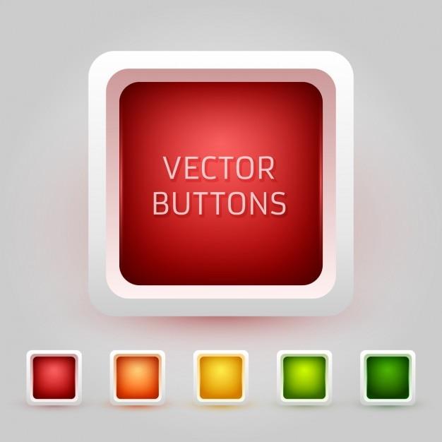 Arrondie buttons collection carré Vecteur gratuit