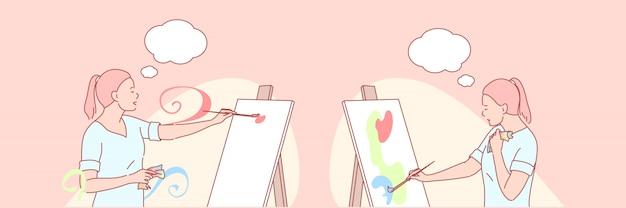 Art, Artiste, Peinture, Illustration De Jeu Créatif Vecteur Premium