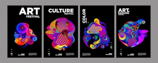 Art, culture et mode modèle de couverture ou poster coloré Vecteur Premium