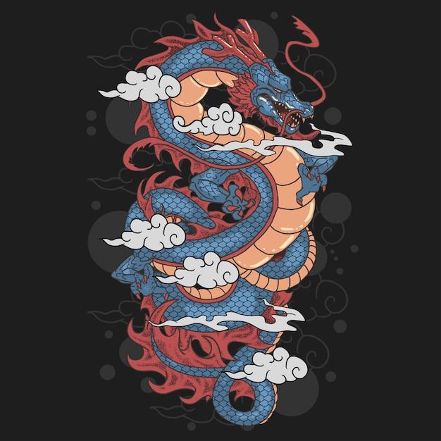 Art De Dragon Et De Nuages Vecteur Premium