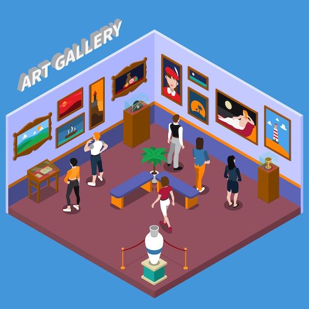 Art gallery isometric illustration Vecteur gratuit