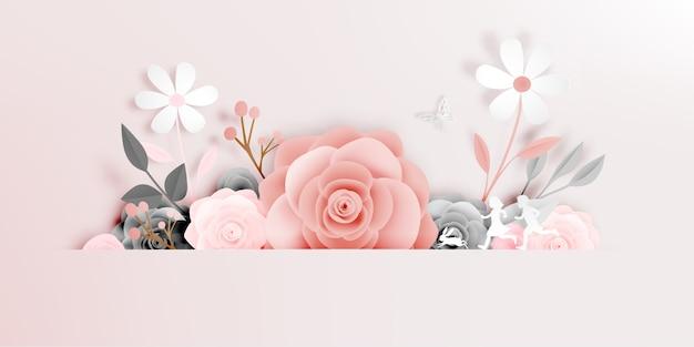 Art magnifique papier floral avec illustation de vecteur papillon Vecteur Premium