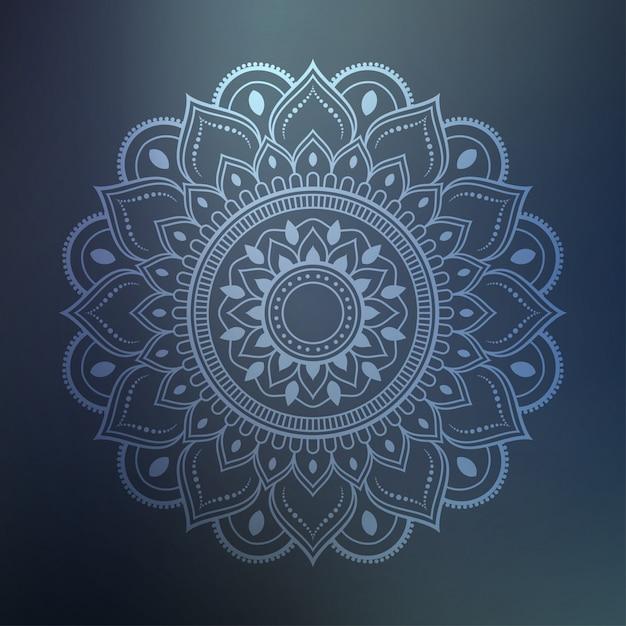 Art de mandala de luxe avec arabesque argenté fond arabe style islamique est Vecteur Premium