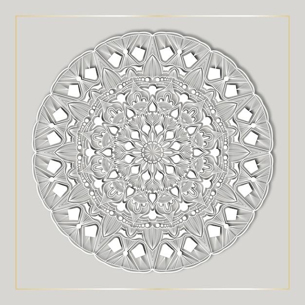 Art De Mandala De Luxe Avec Fond Arabesque Blanc Vecteur Premium
