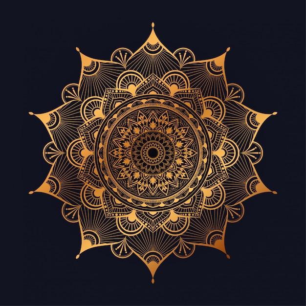 Art De Mandala De Luxe Avec Style Arabe Arabesque D'or De Fond D'or Arabesque Vecteur Premium