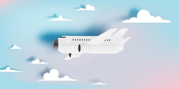 Art de papier avion vue aérienne avec illustration vectorielle de beau fond Vecteur Premium