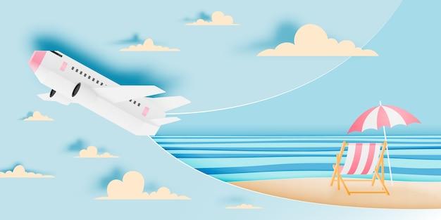 Art de papier avion vue aérienne avec illustration vectorielle de bel océan fond Vecteur Premium