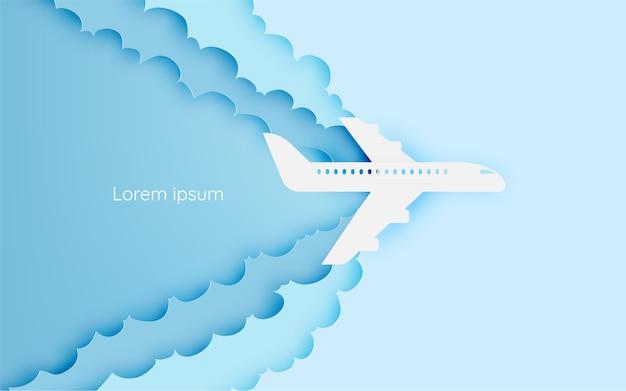Art papier avion vue aérienne avec illustration vectorielle belle fond Vecteur Premium