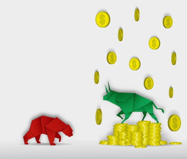 Art de papier bull and bear avec art de papier coin pour vecteur de la bourse et illustration Vecteur Premium