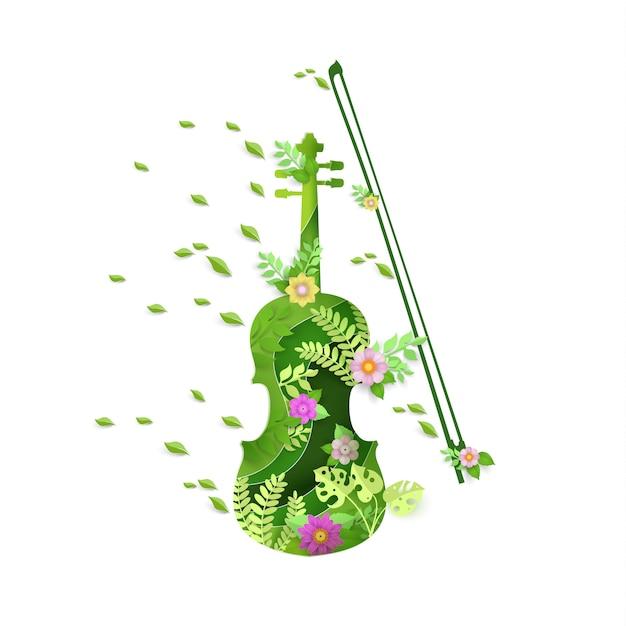 Art de papier avec la conception de l'instrument de violon au printemps. Vecteur Premium