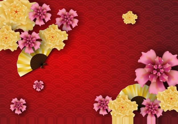 Art Papier Du Modèle Des éléments Traditionnels Et Asiatiques Chinois Vecteur Premium