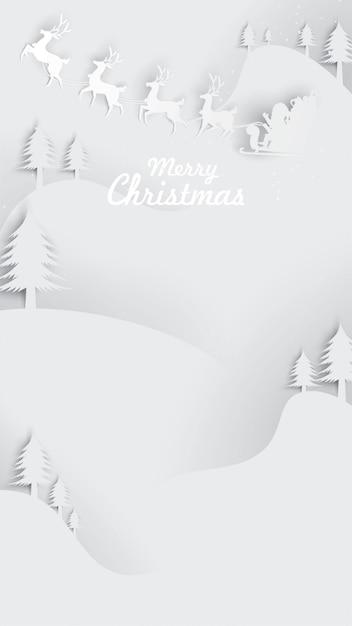 Art De Papier De Fond De Carte De Voeux De Noël Vecteur Premium