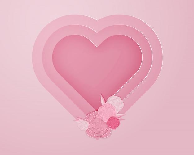 Art de papier rose en illustration vectorielle de forme de coeur Vecteur Premium