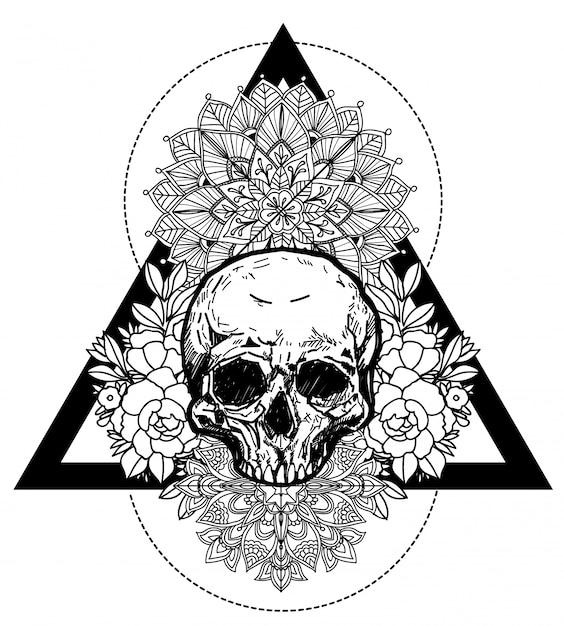 Art de tatouage crâne et fleur à la main dessin et croquis en noir et blanc avec illustration art ligne Vecteur Premium