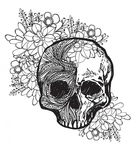 Art De Tatouage Crâne Et Fleur à La Main Dessin Et Croquis