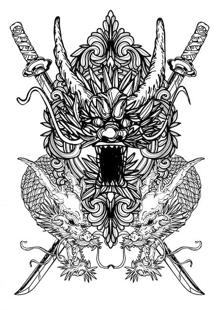 Art De Tatouage Dargon Main Dessin Noir Et Blanc Vecteur Premium