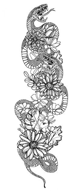 Art de tatouage serpent et fleur dessin et croquis noir et blanc Vecteur Premium