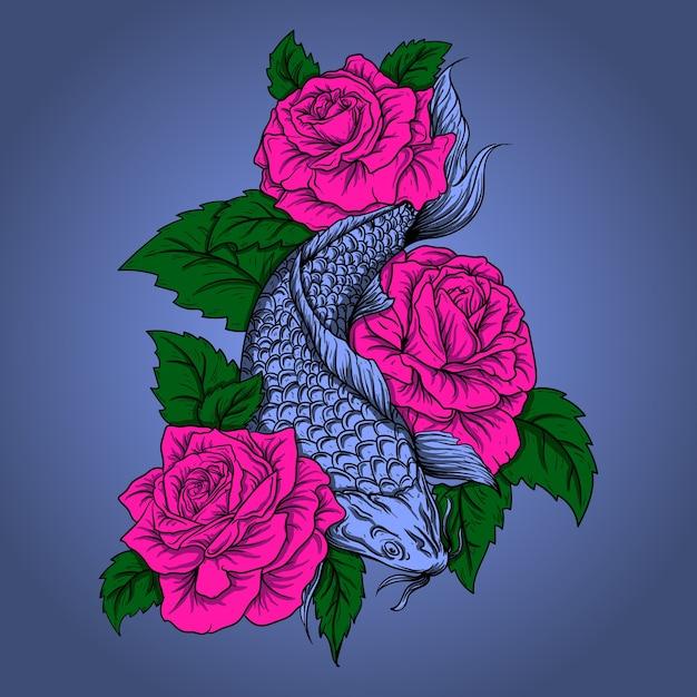 Art Travail Illustration Design Poisson Koi Avec Rose Vecteur Premium