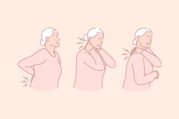 L'arthrite, les rhumatismes, le concept de maladie de l'âge sénile Vecteur Premium