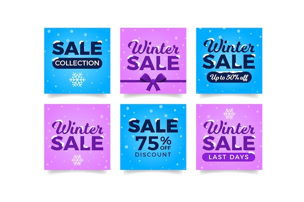 Articles d'hiver mignons instagram avec ruban Vecteur gratuit
