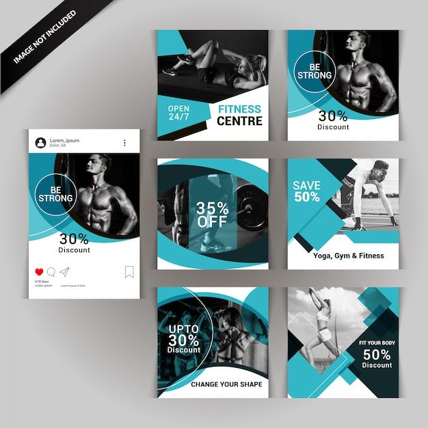 Articles sur les médias sociaux pour la gym, le fitness et le yoga Vecteur Premium