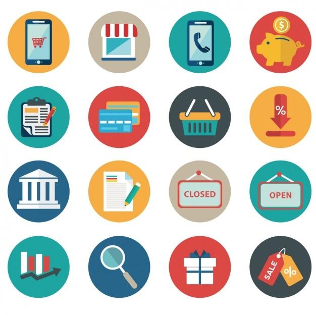 Articles plats sur le e commerce Vecteur gratuit