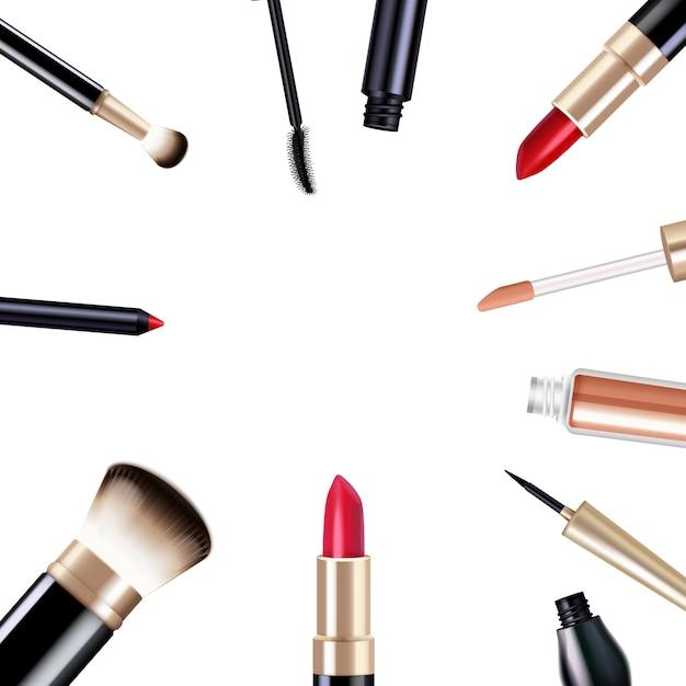 Articles réalistes de maquillage sertie de mascara et de rouge à lèvres isolé illustration vectorielle Vecteur gratuit