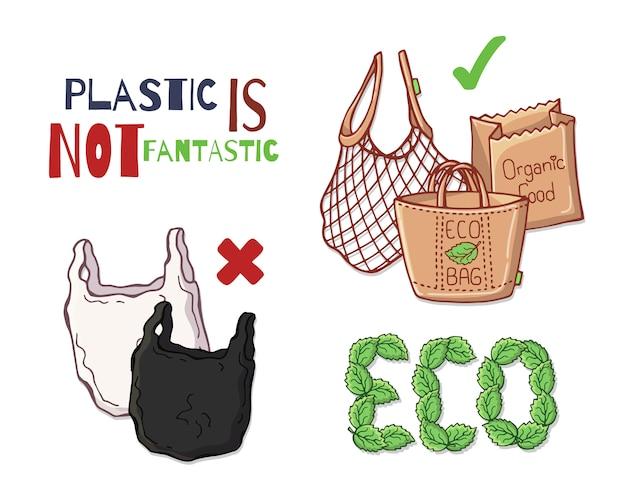 Articles réutilisables au lieu de plastique. Vecteur Premium