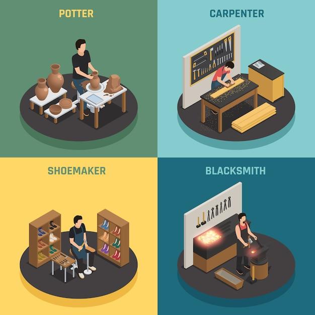 Artisan professions 2x2 design concept Vecteur gratuit
