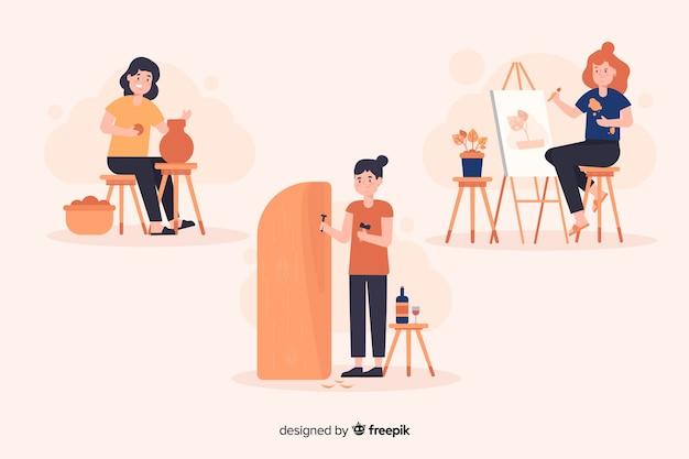 Artiste au travail design plat Vecteur gratuit