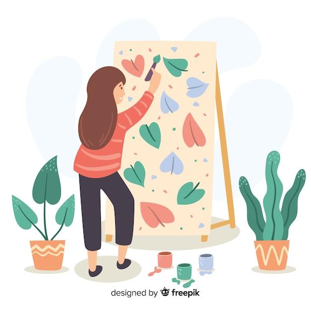 Artiste Féminine Peignant Une Toile Avec Motif Floral Vecteur gratuit