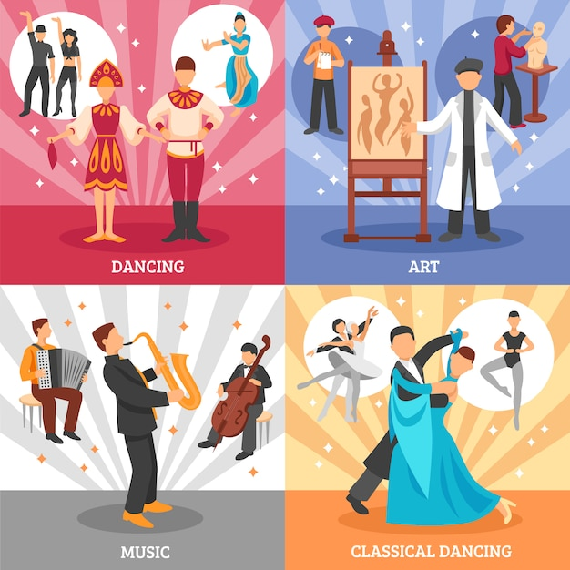 Artiste people concept icons set Vecteur gratuit