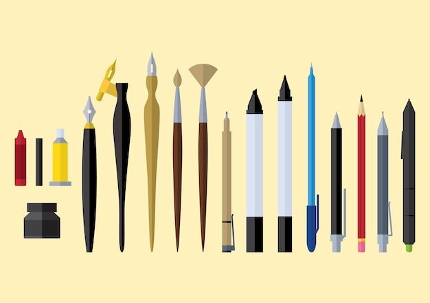 Artiste stationnaire stationnaire outils design plat Vecteur Premium