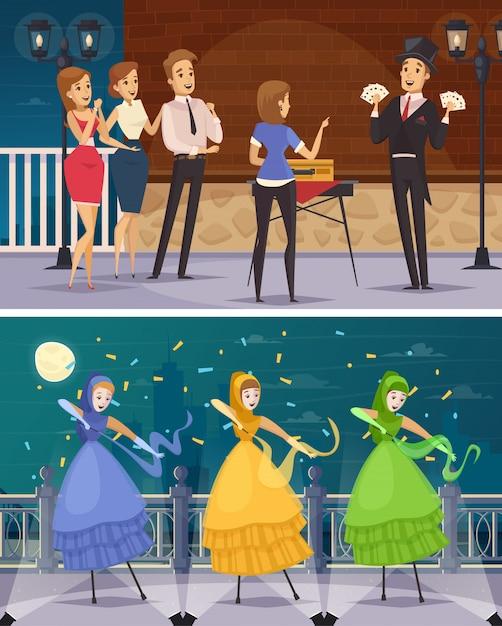 Artistes de rue plats compositions de dessins animés Vecteur gratuit