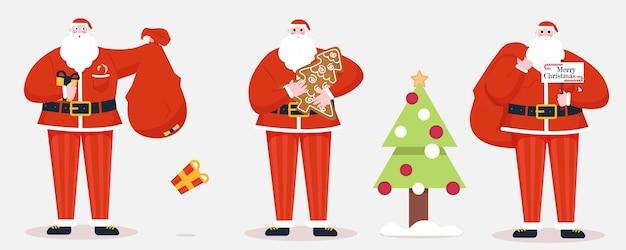 Artoon Santa Claus Avec Des Cadeaux Vecteur Premium