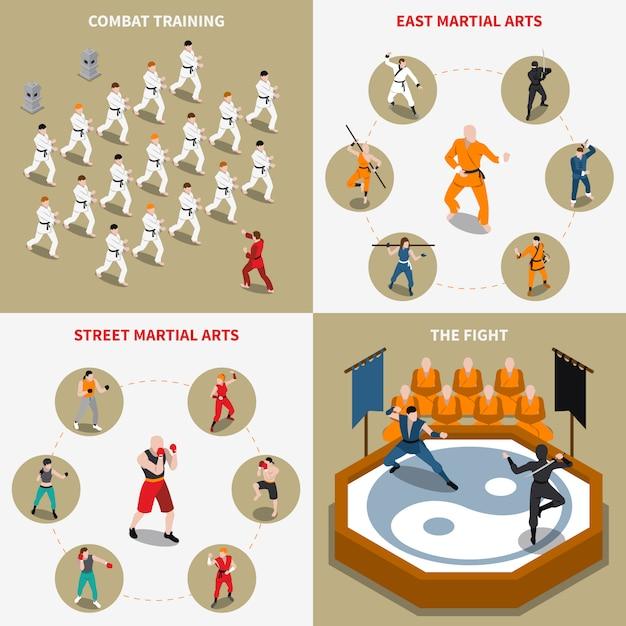 Arts martiaux personnes isométrique 2x2 set d'icônes Vecteur gratuit