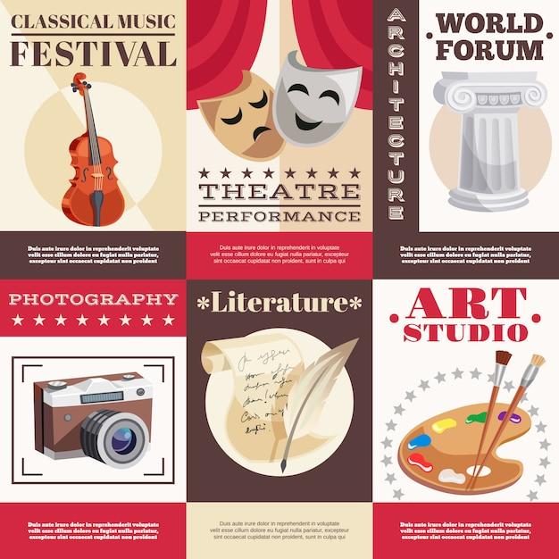 Arts posters set Vecteur gratuit