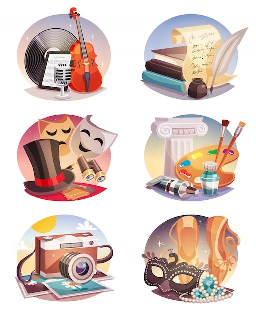 Arts Round Compositions Set Vecteur gratuit