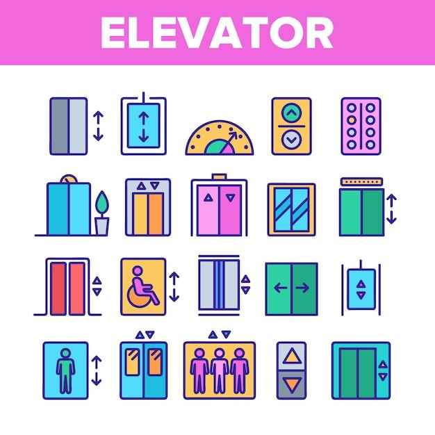 Ascenseur, ascenseur Vecteur Premium