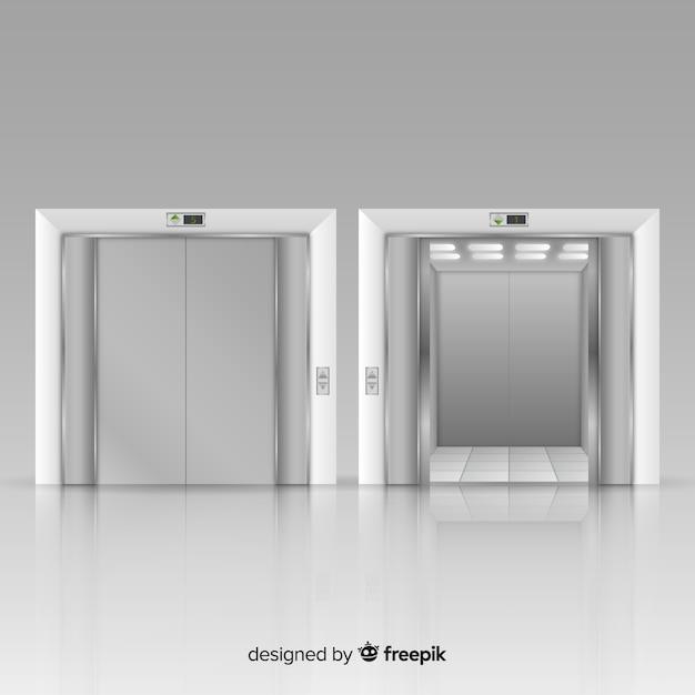 Ascenseur moderne avec un design réaliste Vecteur gratuit