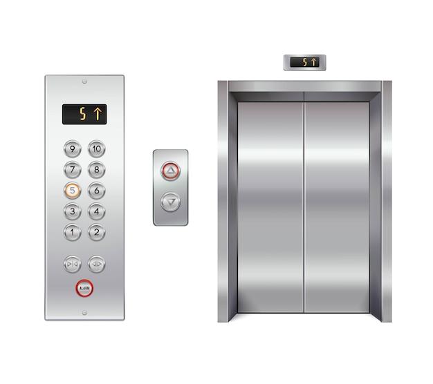 Ascenseur avec portes fermées et panneau de boutons Vecteur gratuit